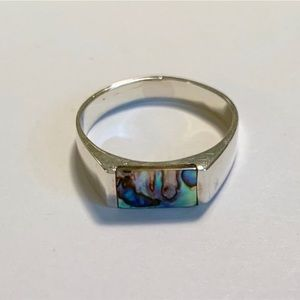 Jewelry - Sterling Silver, Abalone Shell Inlay Ring Size 8